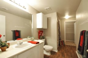 Oval Sink in Bathrooms at Stoneleigh on Cartwright Apartments, J Street Property Services, Texas