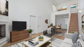 The living room, with flexible furniture arrangements at Le Blanc Apartment Homes, Canoga Park, California