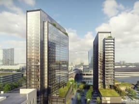 artistic rendering of the two Riverwalk Towers