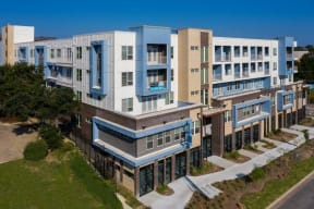 aerial side view of the facility at Brixton South Shore, Austin