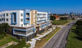 aerial exterior view of our complex at Brixton South Shore, Austin, Texas