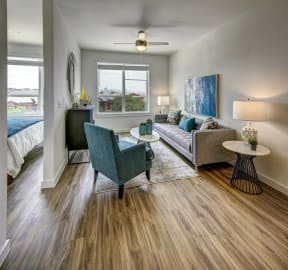 living room with beautiful green chairs at Brixton South Shore, Austin, 78741
