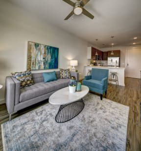 living room with grey sofas at Brixton South Shore, Austin, Texas