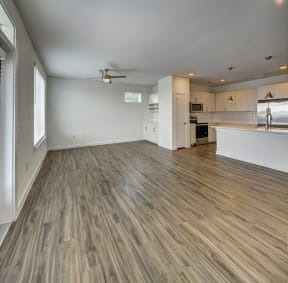 hard wood flooring in the living room at Brixton South Shore, Texas, 78741