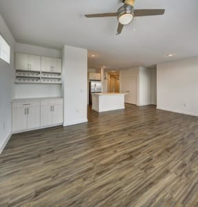 living room with a view of the kitchen at Brixton South Shore, Texas, 78741