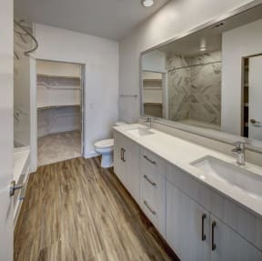 master bathroom with his and her sink at Brixton South Shore, Texas