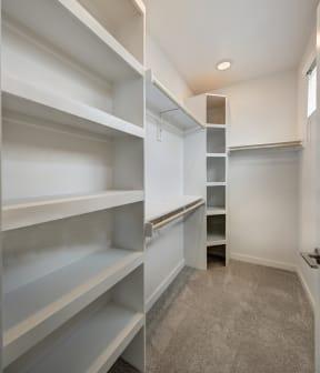 walk in closet with shelving units at Brixton South Shore, Texas, 78741