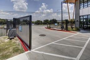 entrance to our parking lot at Brixton South Shore, Austin