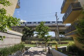 View to bart train near community