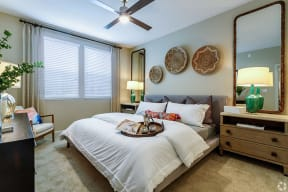 Furnished Bedroom with Ceiling Fan | The Core Natomas in Sacramento, CA
