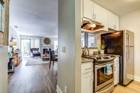 Apartments in Pittsburg CA - Spacious Kitchen with Stylish Interior and Modern Amenities Such as Microwave, Stove, and Refrigerator