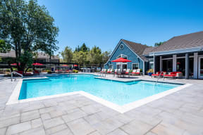 Pittsburg CA Apartments for Rent - Sparkling Pool Featuring Various Shaded Lounging Areas