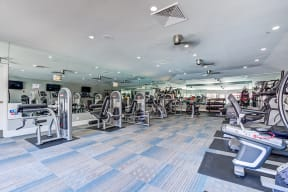 Luxury Apartments in Pittsburg CA - Expansive Fitness Center Featuring Various Gym Equipment