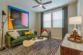 Downtown Sacramento CA Apartments-The Core Natomas-Living Room with Ceiling Fan