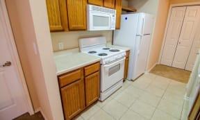 Portofino Senior Apartments white appliances
