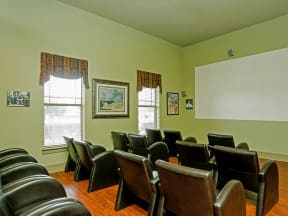 Portofino Senior Apartments community movie room