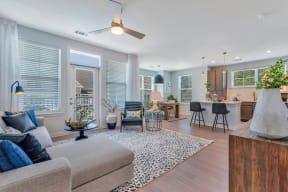 Living Room With Kitchen View at Alta Croft, North Carolina