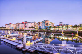 Expansive indoor and outdoor amenity space at Blu Harbor by Windsor, Redwood City, CA