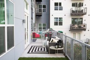 Private balcony available at Metro West, 8055 Windrose Ave, TX