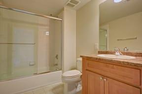 Spacious bathrooms With Marble Counter tops at Villa Montanaro,203 Coggins Drive Pleasant Hill, CA 94523