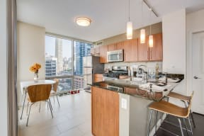 Fully-Equipped, Chef-Inspired Kitchen at Flair Tower, Chicago, Illinois
