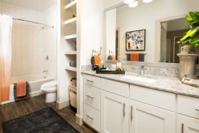 Spa-inspired bathrooms at Metro West, 8055 Windrose Ave, Plano
