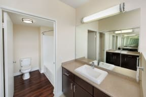 Renovated Bathrooms with Wood-Style Flooring at Renaissance Tower, California, 90015