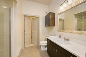 Luxury Bathroom With Vanity Storage at Windsor at West University, Houston, TX