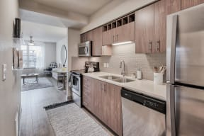Stainless Steel Appliances and Built-In Microwave at Platform 14, Hillsboro, OR