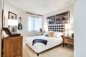 Lush, Wall-to-Wall Carpeting in Bedroom at Malden Station by Windsor, 250 W Santa Fe Ave, California