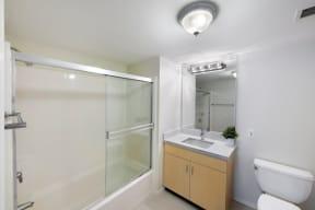 Glass-Enclosed Shower at Sea Castle, Santa Monica, 90401