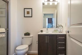 Frameless Mirrors in Bathrooms at Jack Flats by Windsor, Melrose, MA