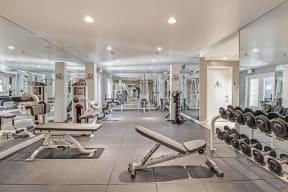 Strength Training Equipment in Fitness Center at Windsor at Hancock Park, Los Angeles, CA