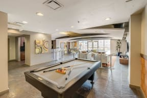 Billiards Table at The Manhattan Tower and Lofts, Denver, Colorado