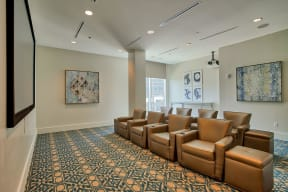 Media Room with Comfy Seating at Glass House by Windsor, Dallas, TX