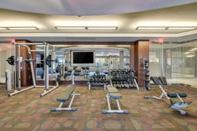 Large Screen TVs in Fitness Center at Windsor at Cambridge Park, Cambridge, 02140