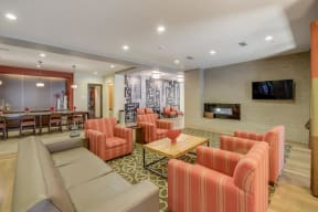 Clubhouse Lounge Area with Fireplace at The Manhattan Tower and Lofts, 1801 Bassett Street, Denver