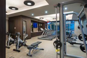 Strength Training Equipment in Fitness Center at Windsor at West University, Houston, TX