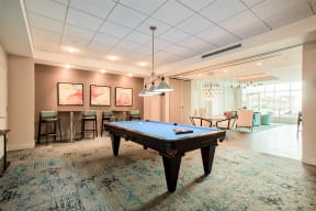Entertainment bar and billiards table at Waterside Place by Windsor, 505 Congress St, MA