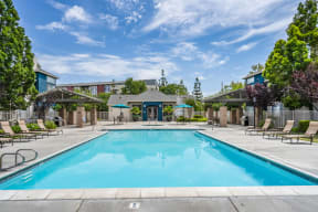 Resort-Style Pool With Sundeck at Pavona Apartments, 760 N. 7th Street, CA