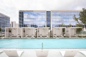 Tanning ledge by pool at Metro West, Texas, 75024