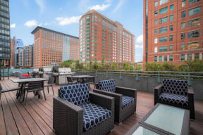 Elevated outdoor living space at Waterside Place by Windsor, Boston, MA