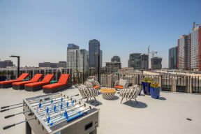 Open-Air, Resident Lounge with Foosball Table at Renaissance Tower, Los Angeles, California