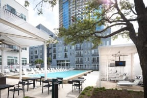 Poolside cabanas at Metro West, 8055 Windrose Ave, TX