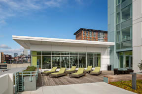 Roof Deck with Lounge Space at Waterside Place by Windsor, 505 Congress S, Boston