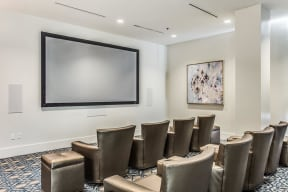 """Media Room with 135"""" Quad-Screen Projector at Glass House by Windsor, Dallas, TX"""