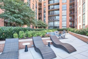 Newly renovated outdoor terrace at IO Piazza by Windsor, Arlington, VA