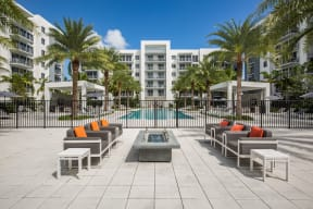 Outdoor Lounge Area and Fire Pit at Allure by Windsor, Boca Raton, Florida