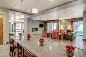 Clubhouse with Fireplace and 6 TVs at The Manhattan Tower and Lofts, Denver, Colorado