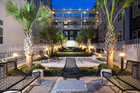 Beautiful courtyard with seating at Metro West, Plano, 75024
